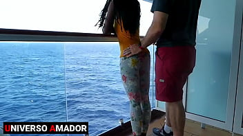 Cumming inside the ass of the beautiful black teen in the ship's cabin during a cruise - Anal creampie (RED)