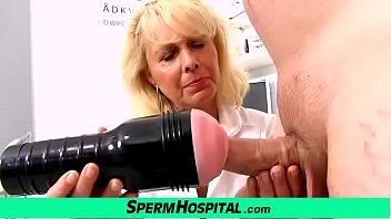 Blonde lady doctor Koko old with young CFNM exam and handjob 6 min