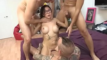 Big titted Noa gets fucked like she's never fucked by four guys