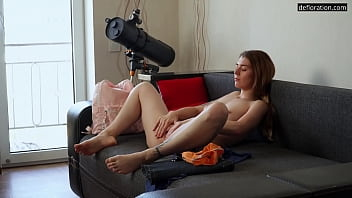 Nina Lizalaks being naked on camera for the first time