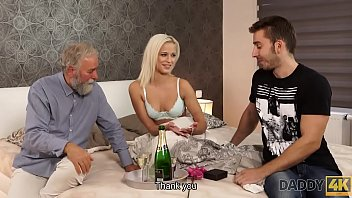 DADDY4K. Blonde-haired dollface Ria Sun tries old dick of BF's dad