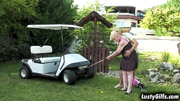 LUSTY Grandma Nanney is out playing golf with her private instructor Mugur.She is a bit older that him and Nanney is getting turned on by this hunk
