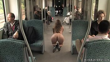 Busty Euro babe d. naked in bus