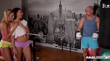 Anal inspectors observe Alexis Brill & Christen Courtney share cock at gym