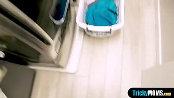 Busty latina MILF stepmom fucks during doing laundry thumbnail