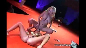 Sex on stage during concert Lesbian strippers babes stage