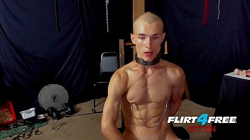 Gay orgasm with nipple torture Flirt4free fetish flogger hoss kado clamps his nipples and sits on a dildo