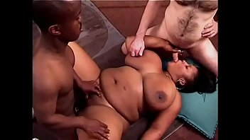 Cum covered bbw Interracial freak fest ends with cum covered tits