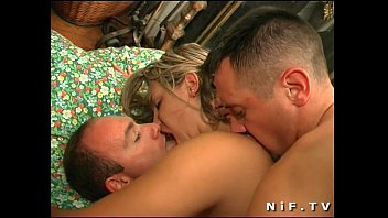 Horny french blonde in stockings gets double teamed
