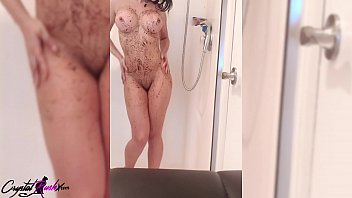 Hot Brunette Takes Shower and Masturbates Pussy - Real Orgasm