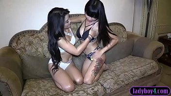 POV threesome with a sexy ladyboy and a hot Thai girl