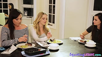 Sexy squirting lesbians get filthy at dinner
