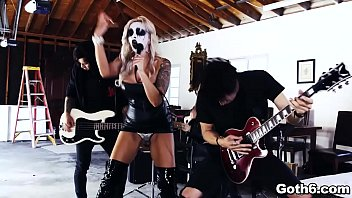 Rockstar MILF Nina Elle shows up with a corpse face paint ready to rock and roll in a sizzling 3some with the band Small Hands and Xander Corvus.
