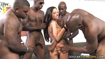 Black cock in hot Latinas asshole