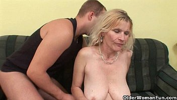 Old hairy mom Older mom with big tits and hairy pussy gets facial