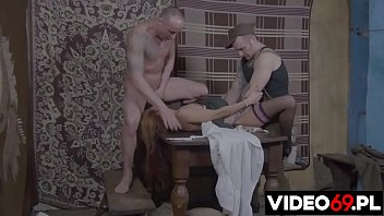 Polish porn - Drunken soldiers rough forced village girl on the table