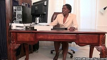 Secretary and pantyhose - Office grannies amanda and penny strip off and play