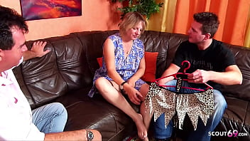 German Mature Maid Tricked to Threesome Sex by Dad and Son 14 min