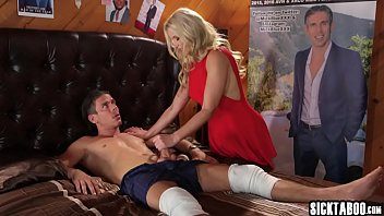 Obsessed blonde fan used a confused guy with big cock