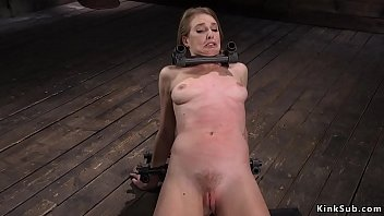 Locked neck slave is hard whipped