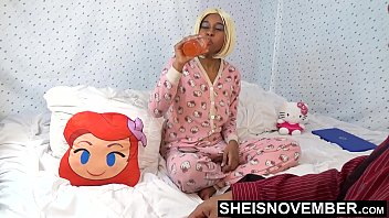 17322 Step Dad Sneaking Into My Room To Teach Me Sex , Cute Black Step Daughter Msnovember In Hello Kitty Onsie Buttflap , Before Mom Gets Home HD On Sheisnovember preview