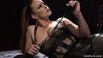 Sadist busty dominatrix torments guy