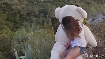 Jenny Ferri Ferry petite teen girl first time sex with Teddy bear Carlos outdoor