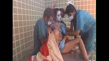 Japanese woodblock geisha Three dissolute studs change into medical clothing to poke young newcomer geisha annie cruz in the masseuse