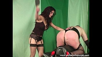 Crossdress spank tube Wooden paddle spanking