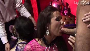 Dirty Sluts gags on a huge cocks then gets fucked to mouth cumshot