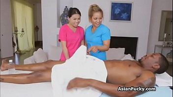 Asian masseuse on big black dick