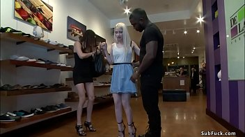 Blonde gangbang fucked in shoe shop