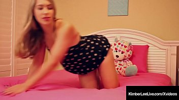 Young Hot Kimber Lee Dildo Fucks In Sexy Sundress On Her Bed
