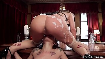 Butler cums on Milf and her stepdaughter