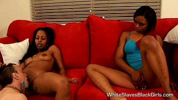 White Submissive pleases his Black Mistress