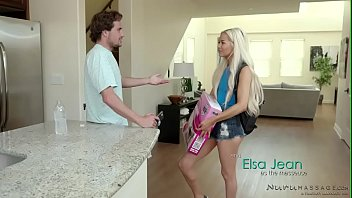 Cute blonde Elsa Jean fucks her crush on the couch