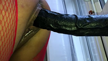POV Closeup iPhone Filming of My Girlfriend - Watch this Sexy British Milf Bent Over and Ram a Massive Brutal Wall Mounted Dildo Hard and Fast in Her Huge Gapping Wet Pussy