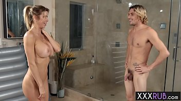 Busty blonde mature seduced confused guy with big cock