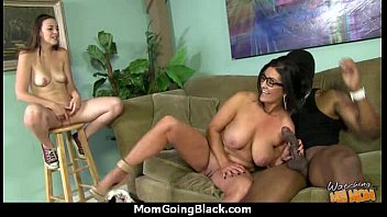 Big tits bounce on a black cock and mom joins in! 14