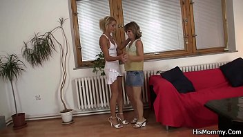 Tanned blondie and her bf'_s mom toying snatches