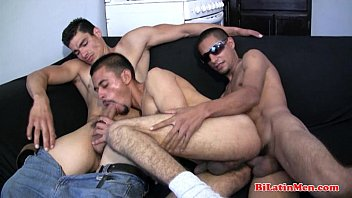 3 hot gay latino men fucking each other bareback