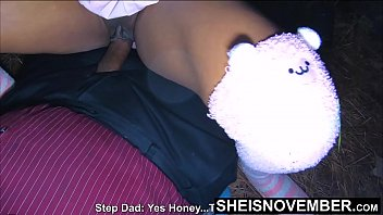 Dad im naked - Teaching my ebony step daughter sex in the forest straddling a bbc, naive ebony nerd msnovember obeys step dad and climbs on top of his older dick , enormous ebony boobies sagging, hardcore taboo ebony sex on sheisnovember