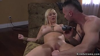 Biker whips and fucks busty blonde bdsm