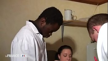 Bitch getting double penetrated by doctor and his assistant