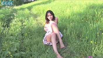 Pretty busty brunette babe Abigail stripping outdoors and spreading shaved pussy