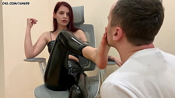 Devilish Mistress Sofi In Leather Boots And Latex - Foot And Shoe Worship Rough Femdom (Preview)