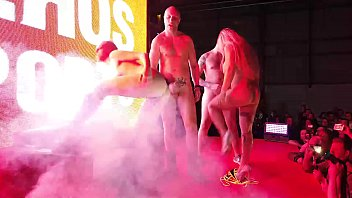 Foursome public swinger party double couple have funny on the stage. With Liz Rainbow, Mary Rider, Capitano Eric and Kevin White