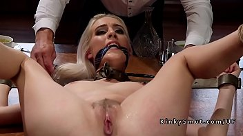 Two blonde slaves fucked in threesome
