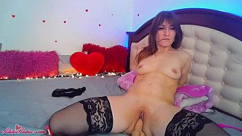 Sexy Babe in Stockings Masturbate Pussy and Anal Dildo