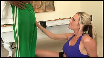 Blonde trophy wife cuckold with her fitness trainer